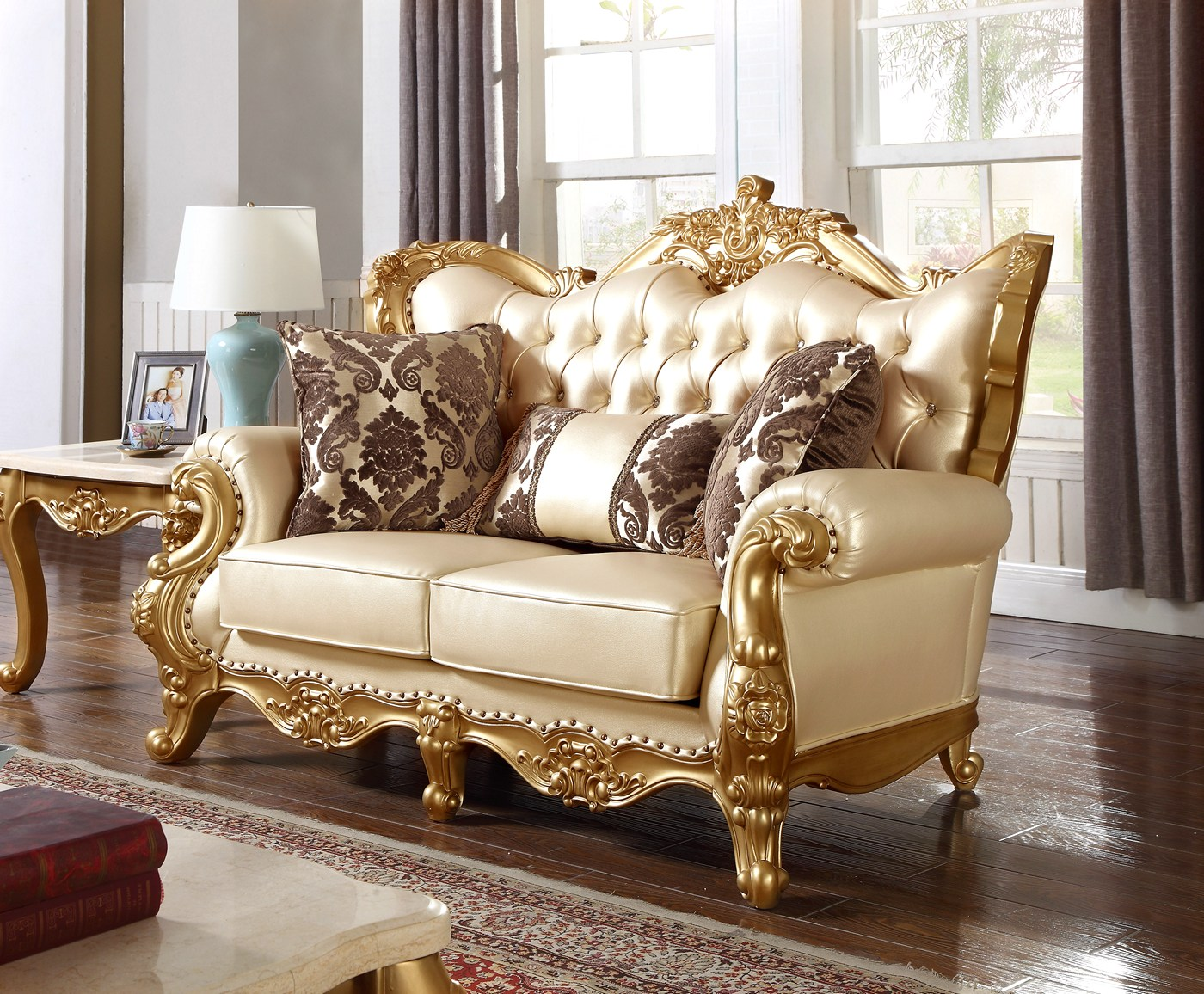 Paloma Traditional Pearl Beige Bonded Leather Loveseat W