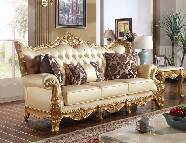 Paloma Traditional Pearl Beige Bonded Leather Sofa W/ Gold