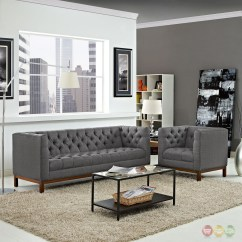 Panache Sofa Set 3 Pc Sectional Mid Century Modern 2pc Upholstered And Armchair