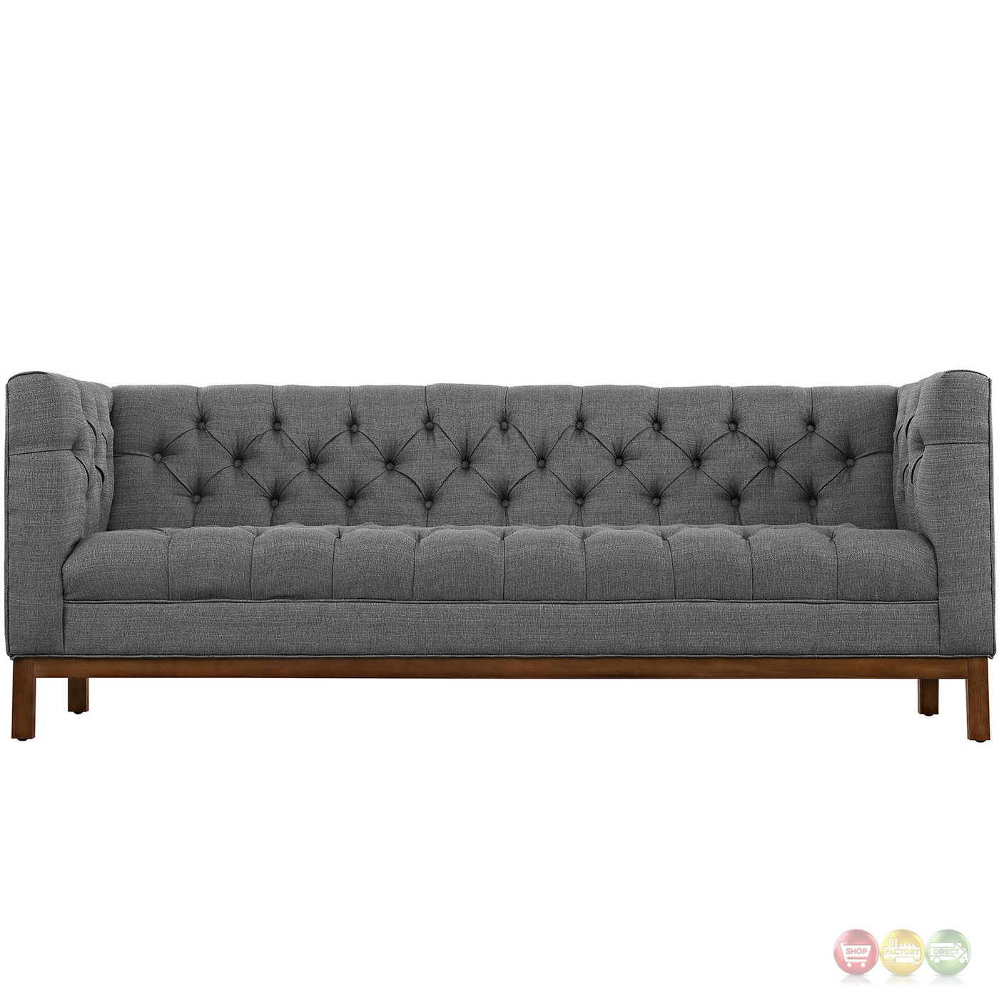 modern square sofa wooden designs for small living room mid century panache vintage button tufted