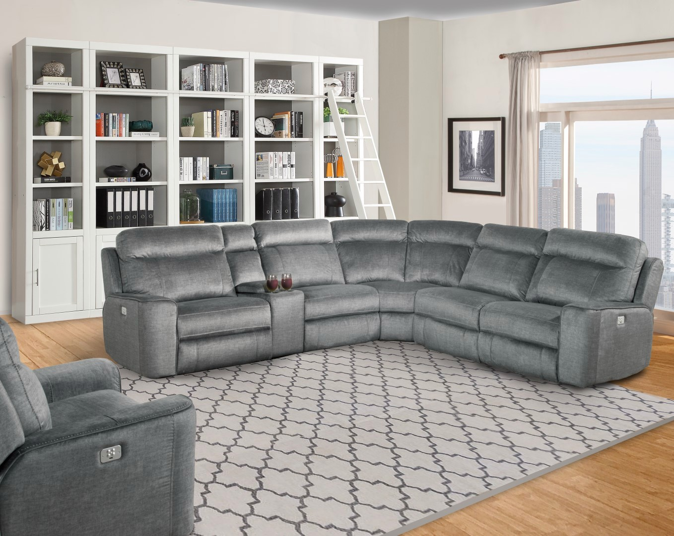 Details About Parthenon Titanium Modular Motion Sectional Sofa Power Headrest Armless Recliner