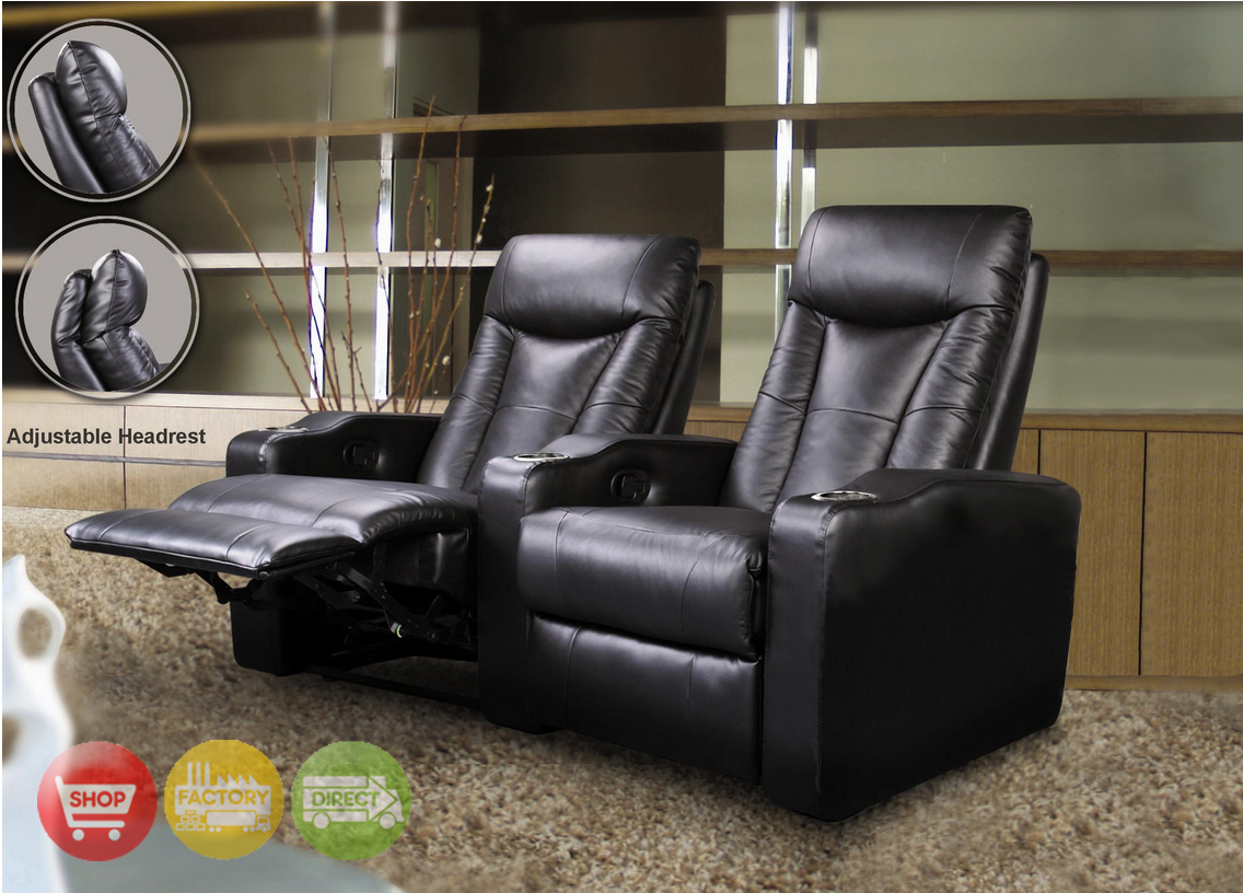 2 seat theater chairs iron patio chair pavillion home seating black leather row of