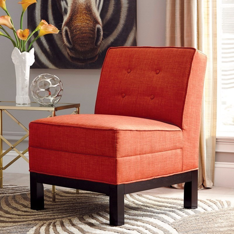 Persimmon Orange Button Tufted Armless Accent Chair with