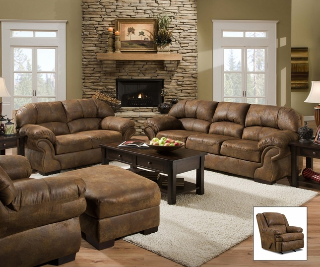 living room with loveseat and chairs built in bar pinto tobacco finish microfiber sofa set