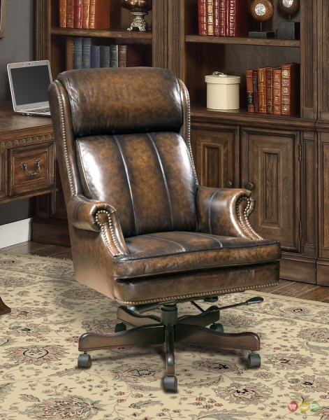 traditional leather office chair Executive Office Desk Chair Genuine Brown Leather Traditional w/ Nailhead Trim