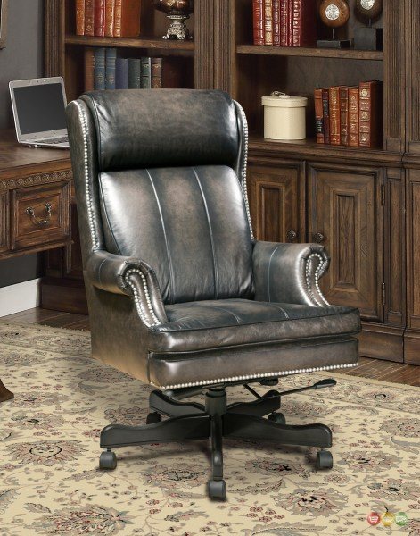 traditional leather office chair Executive Office Desk Chair Smoke Gray Genuine Leather Traditional Nailhead Trim | eBay