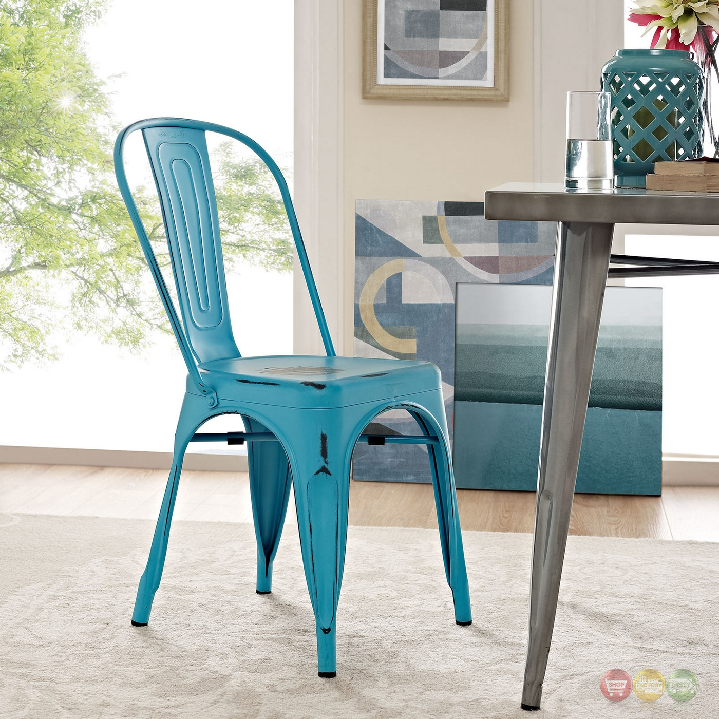 Turquoise Side Chair Promenade Vintage Modern Steel Side Chair With Distressed