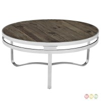 Wood Top Coffee Table | Modern Round Coffee Table