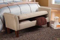 Raised Arm Light Tan Fabric Upholstered Storage Bench