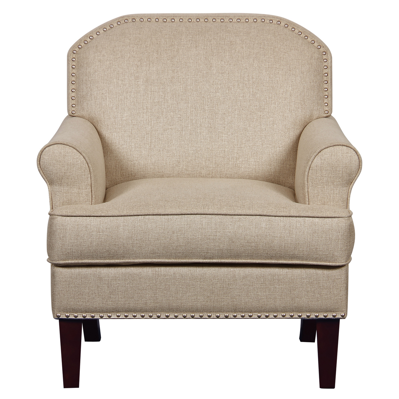 transitional accent chairs swing chair furniture raven rock roll arm nailhead trim beige image is loading