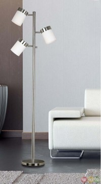 Roarke Brushed Steel Finish Drum Shades Floor Lamp