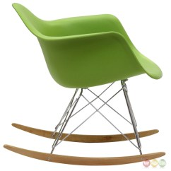 Green Rocking Chair Outdoor Dining Chairs White Rocker Molded Plastic Lounge With Chrome