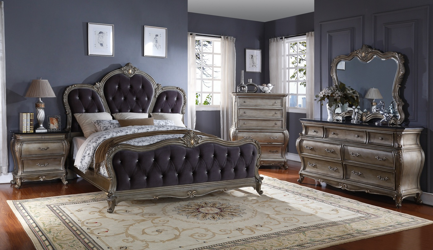 Roma French Bombe Crystal Tufted 4Piece King Bedroom Set