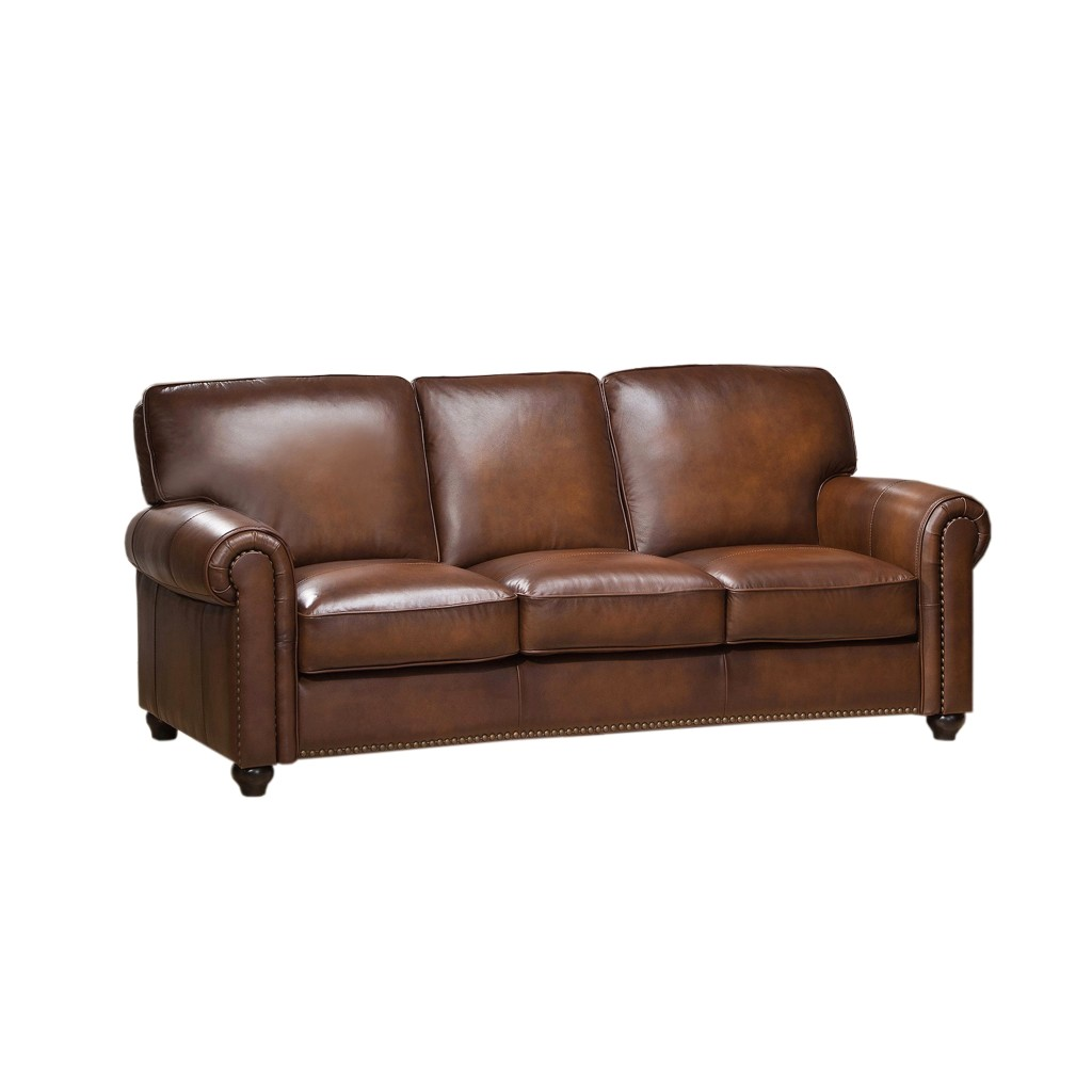 sofa nailhead sunbrella indoor royale olive brown genuine leather with trim