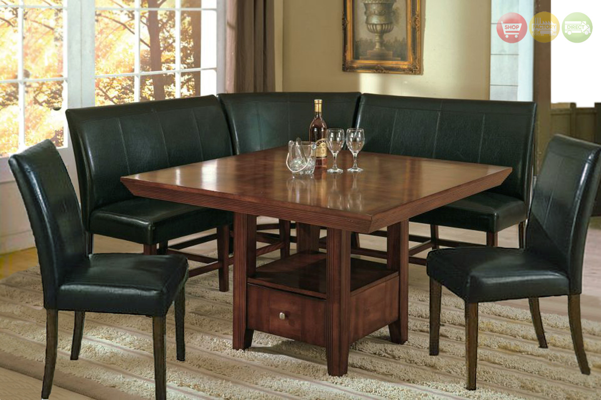 Salem 6pc Breakfast Nook Dining Set Table, Corner Bench