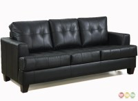 Contemporary Black Leather Sofa | Black Leather Button ...