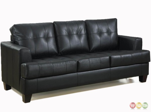 Contemporary Black Leather Sofa Button