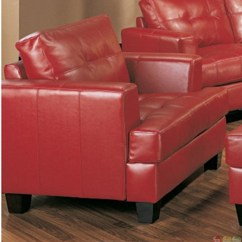 Red Leather Chair And Ottoman 6 Dining Room Set Samuel Sofa Bonded Shop Factory