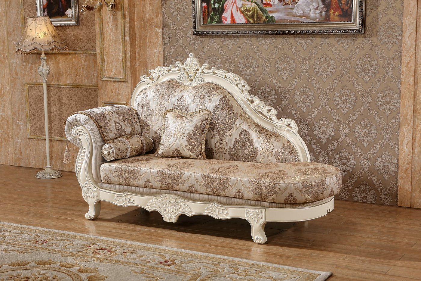 parker sofa and loveseat art deco chairs serena opulent traditional upholstered chaise in pearl ...