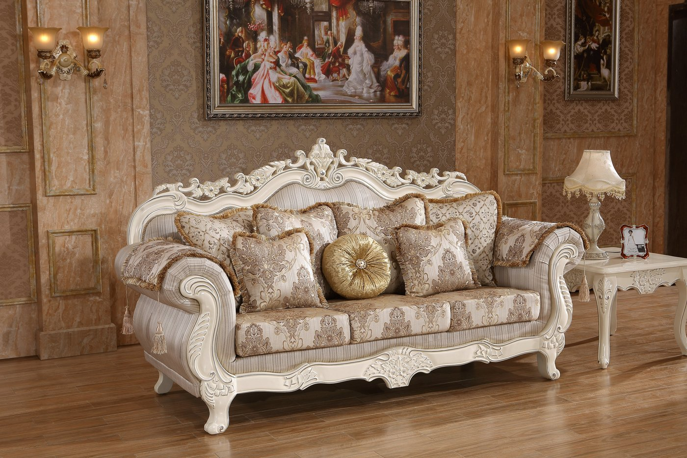 White And Gold Chair Serena Opulent Traditional Upholstered Sofa In Pearl White