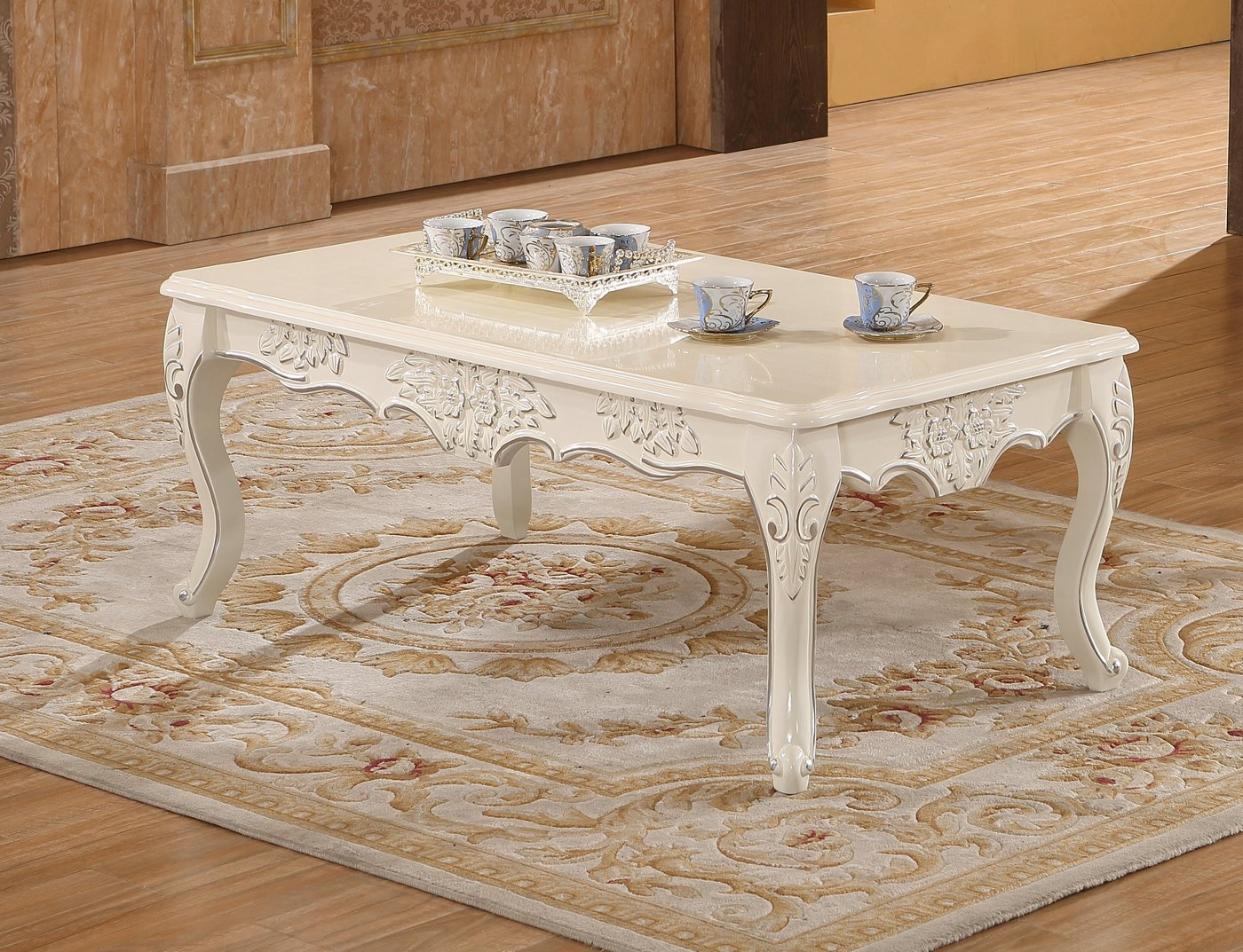 Serena Opulent Traditional Wood Coffee Table In Pearl