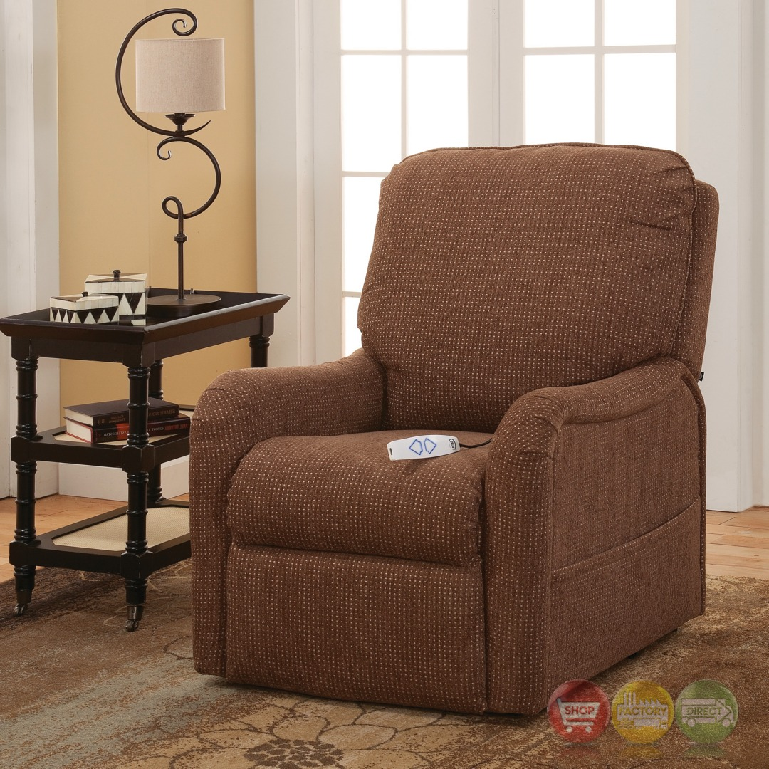 the comfortable chair store reupholster dining room seat serta comfortlift essex brown wall hugger reclining lift