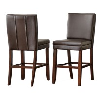 Set Of 2, Bennett Brown Vinyl Counter Height Chairs With ...