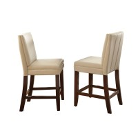 Set Of 2, Bennett White Vinyl Counter Height Chairs With ...