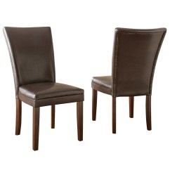 Contemporary Leather Dining Chairs Dutailier Rocking Chair Cushions Set Of 2 Hartford Brown Upholstered