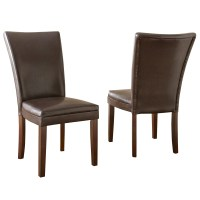 Set Of 2, Hartford Contemporary Brown Leather Upholstered ...