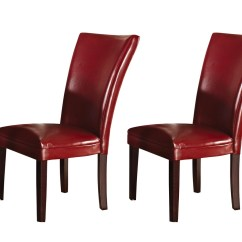 Contemporary Leather Dining Chairs Office Chair Covers Depot Set Of 2 Hartford Red Upholstered