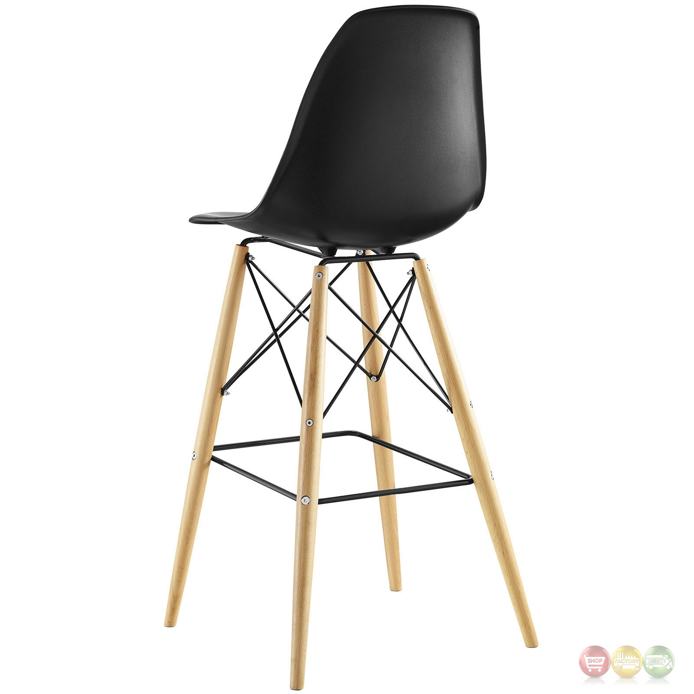 black plastic chair with wooden legs ergonomic attachment set of 2 pyramid deep seat molded bar w