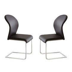 Black Dining Room Chairs With Chrome Legs Living Cheap Set Of 2 Tayside Contemporary Faux Leather