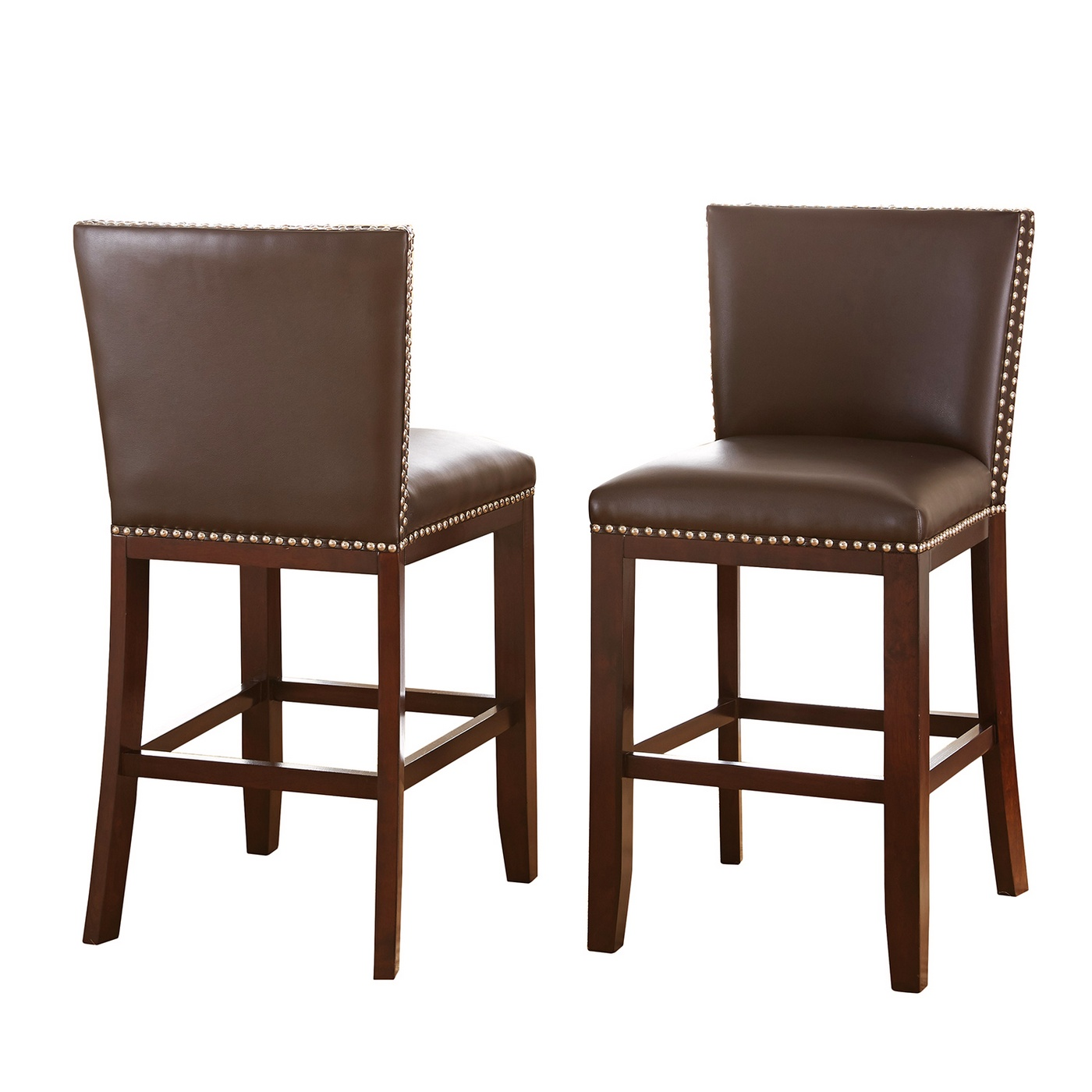 Bar Stool Chair Set Of 2 Tiffany Modern Hardwood Brown Vinyl Counter