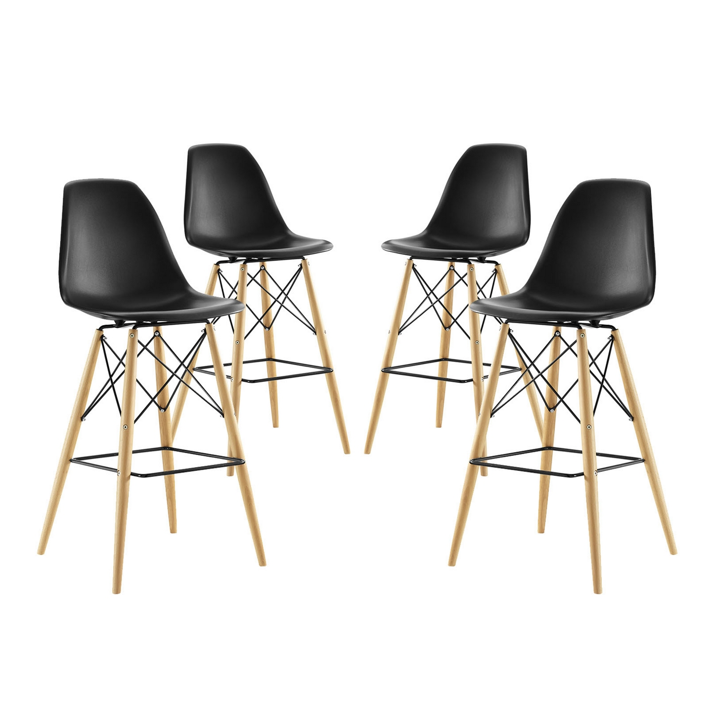 black plastic chair with wooden legs soccer mom chairs set of 4 pyramid modern deep seat molded bar