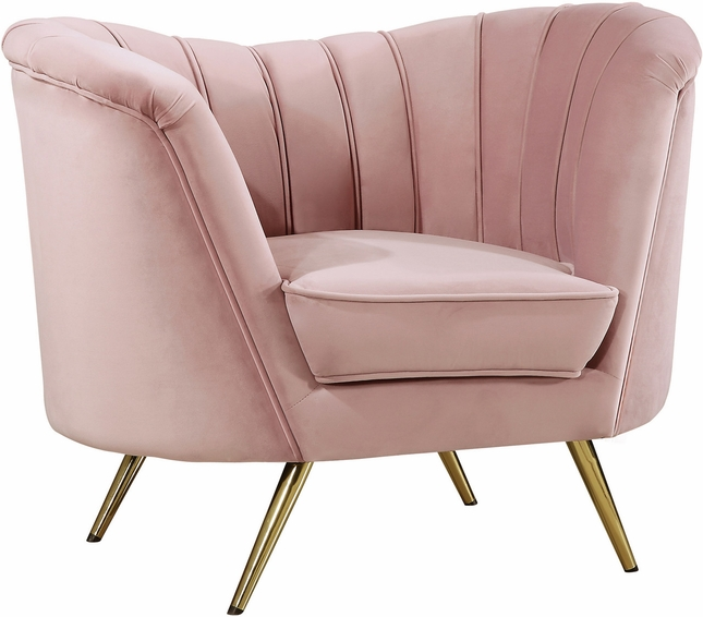 Shelby Modern Scoop Back Channel Tufted Pink Velvet Chair