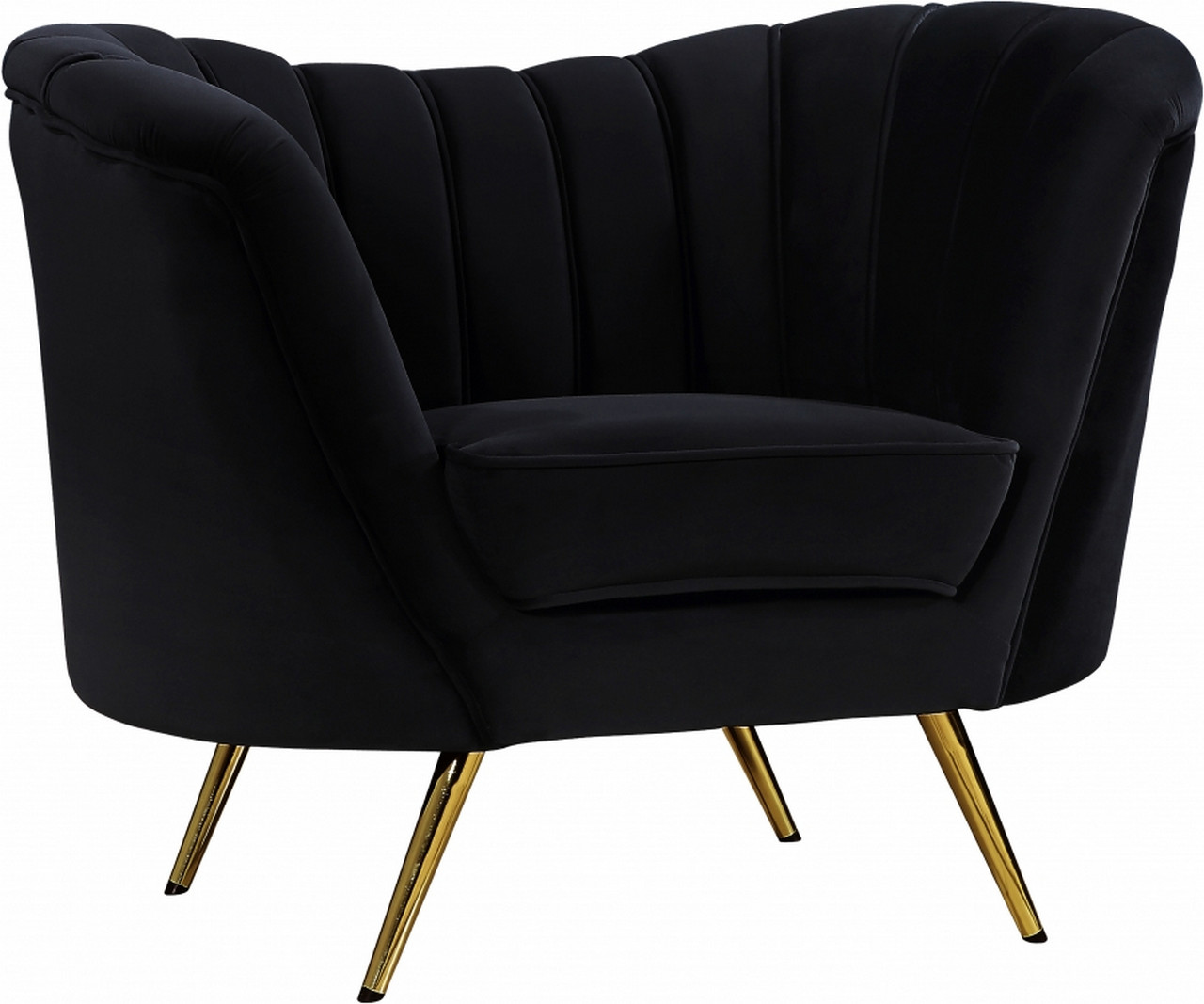 Black Velvet Chair Shelby Scoop Back Channel Tufted Black Velvet Chair W Gold