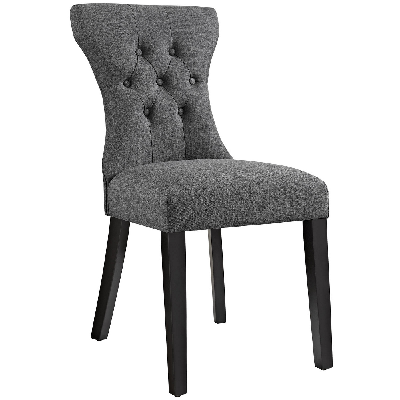 Grey Wood Dining Chairs Silhouette Modern Tapered Back Dining Side Chair With Wood