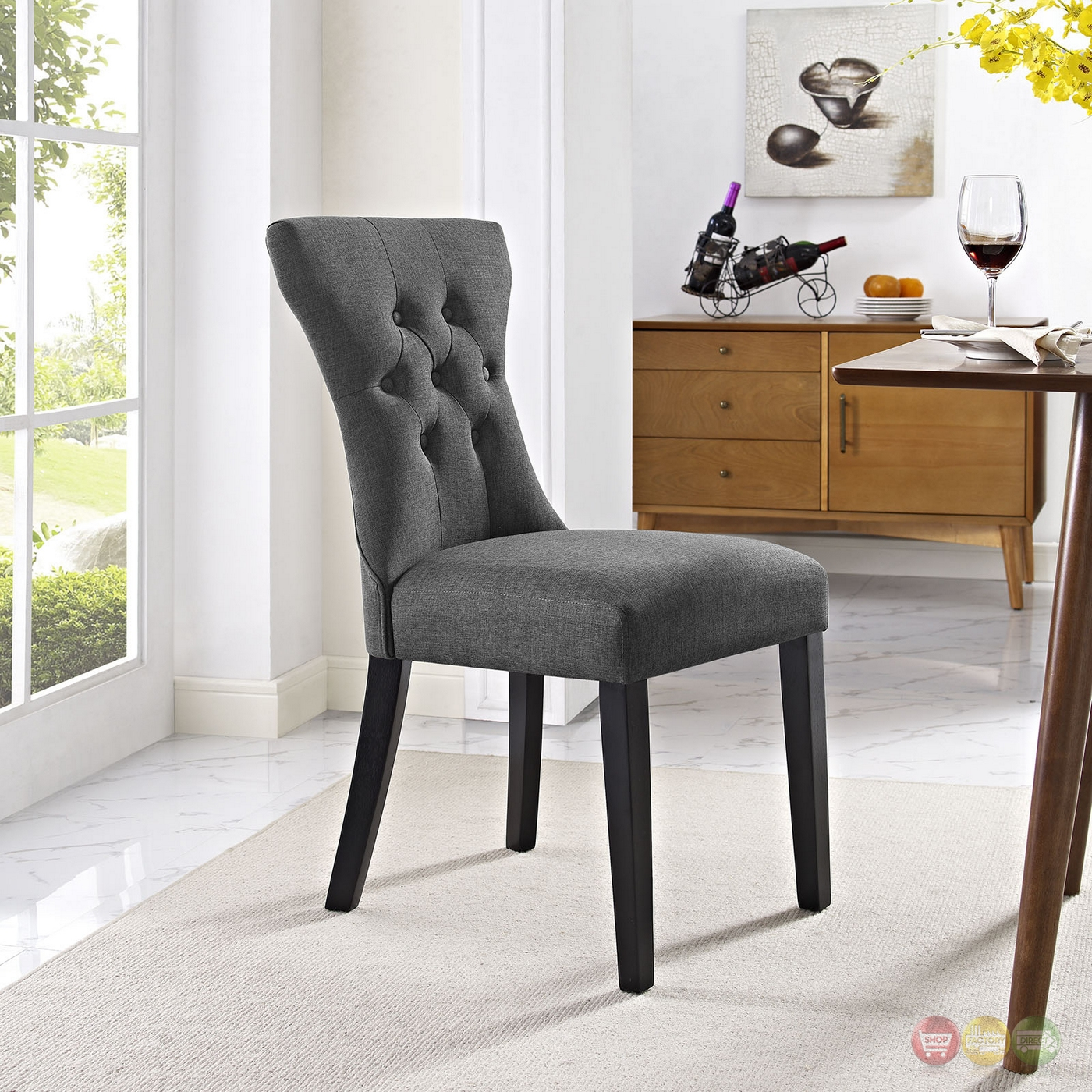 Silhouette Modern Tapered Back Dining Side Chair With Wood