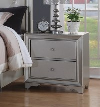 Silver Chic Contemporary 2-Drawer Silver Nightstand With ...