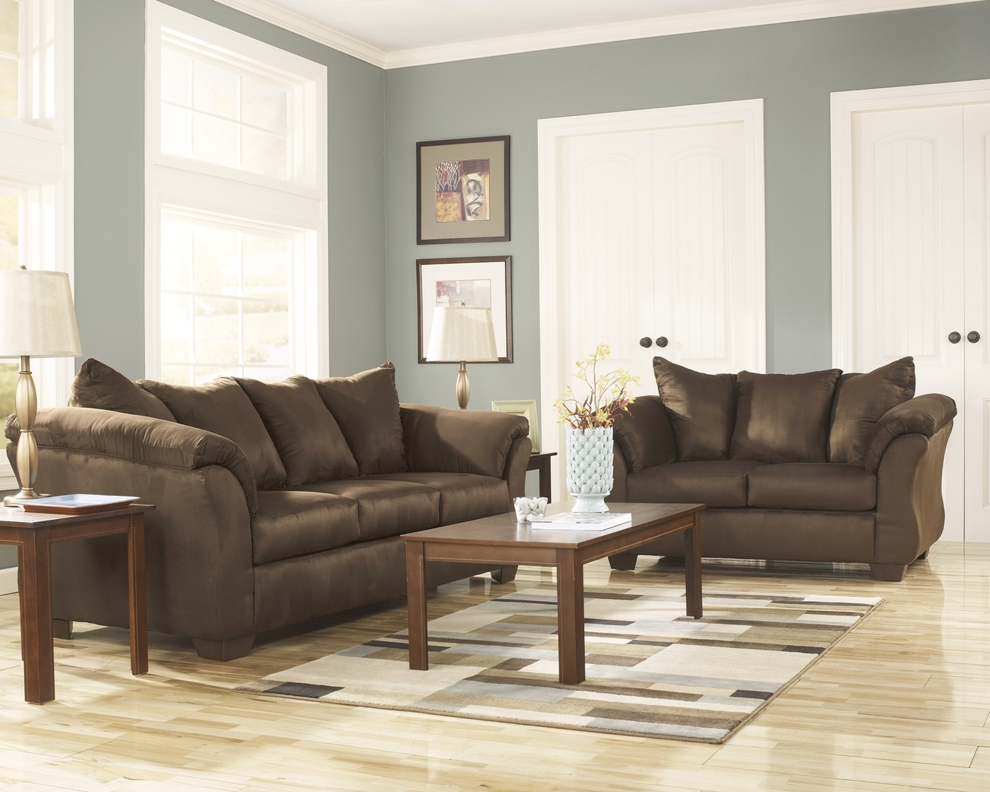 microfiber living room furniture decorating ideas light blue walls luna cafe chocolate sofa loveseat casual details about set by ashley