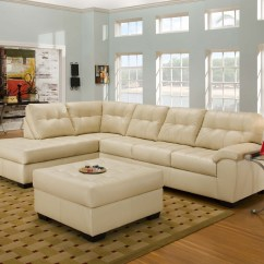 Simmons Bonded Leather Sofa Deep Comfortable Sectional Ivory