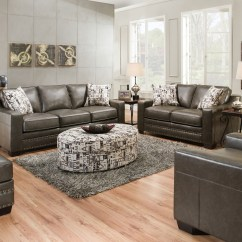 Grey Sofa With Silver Nailheads Small Modular Bed Slate Gray And Love Seat W Nailhead Trim Transitional