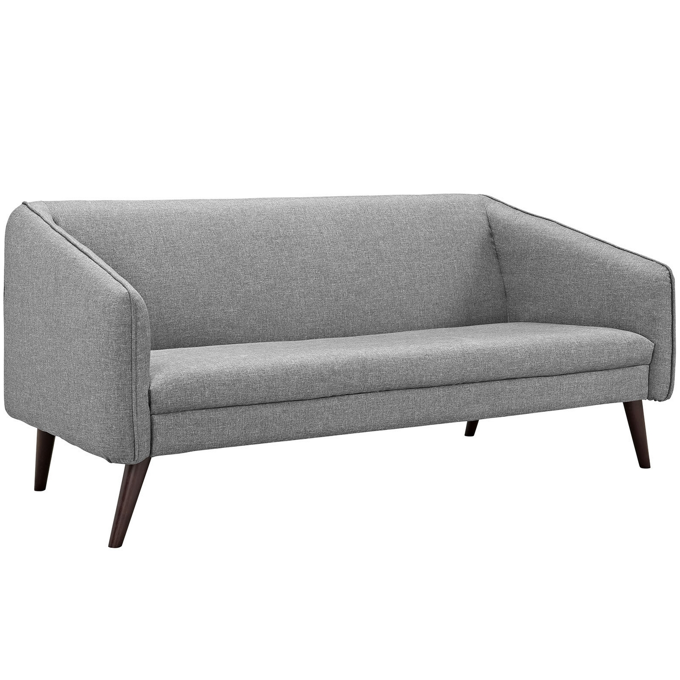mid century modern light gray sofa avery flexsteel elliott slide upholstered with wood frame