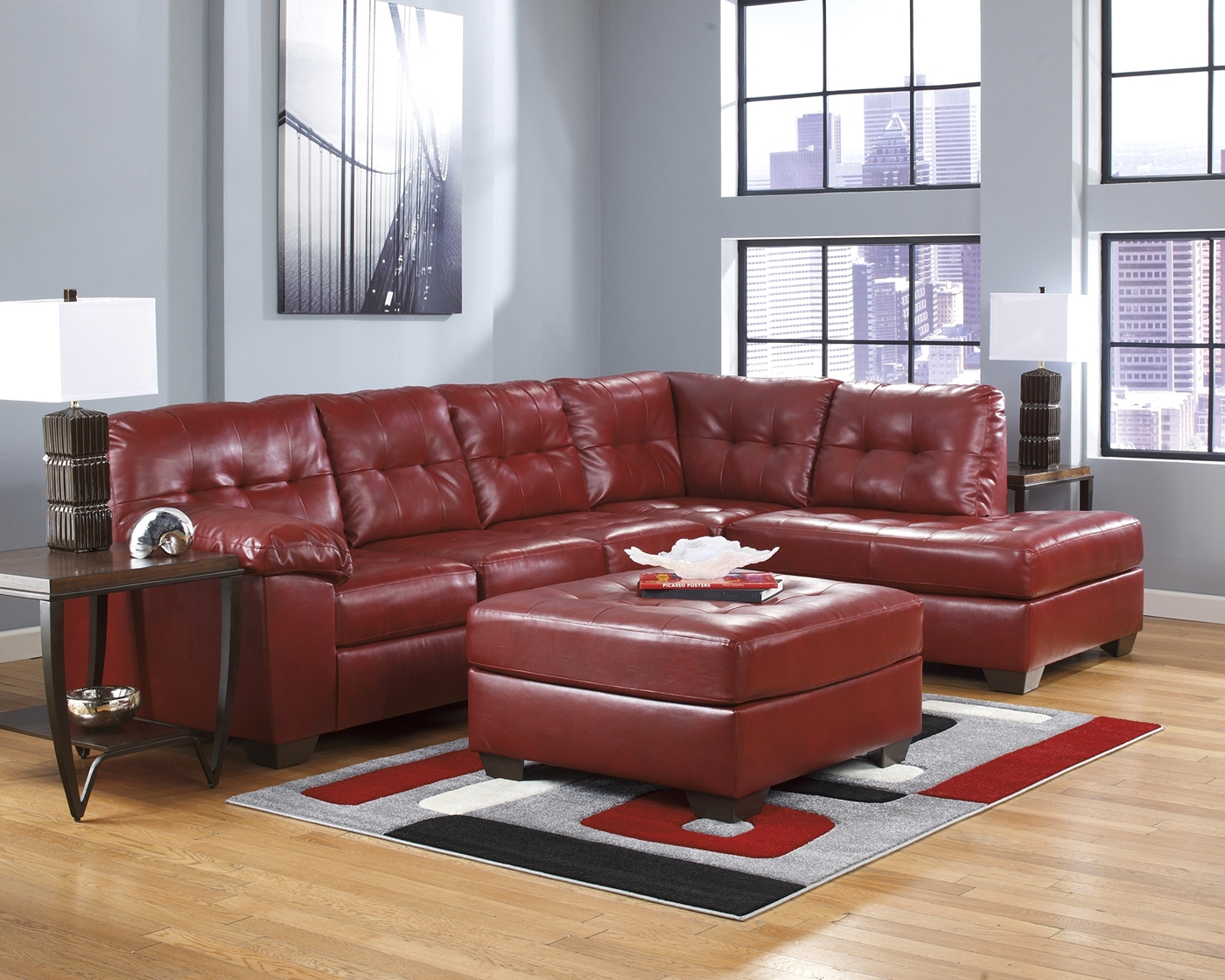 ashley red leather sofa crate and barrel sofas singapore sectional bonded shop factory direct
