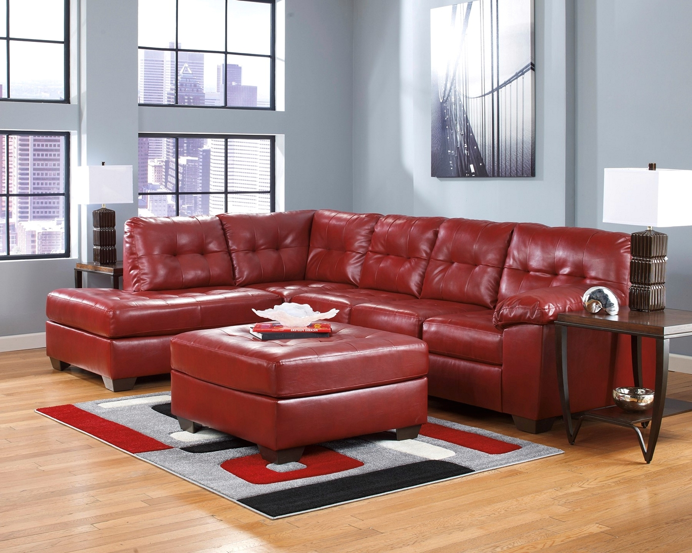 Soho Contemporary Red Leather Sectional Sofa w Left Chaise
