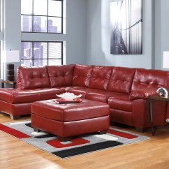 Ashley Red Leather Sofa 1 Piece Stretch Slipcover Soho Contemporary Tufted Bonded Sectional