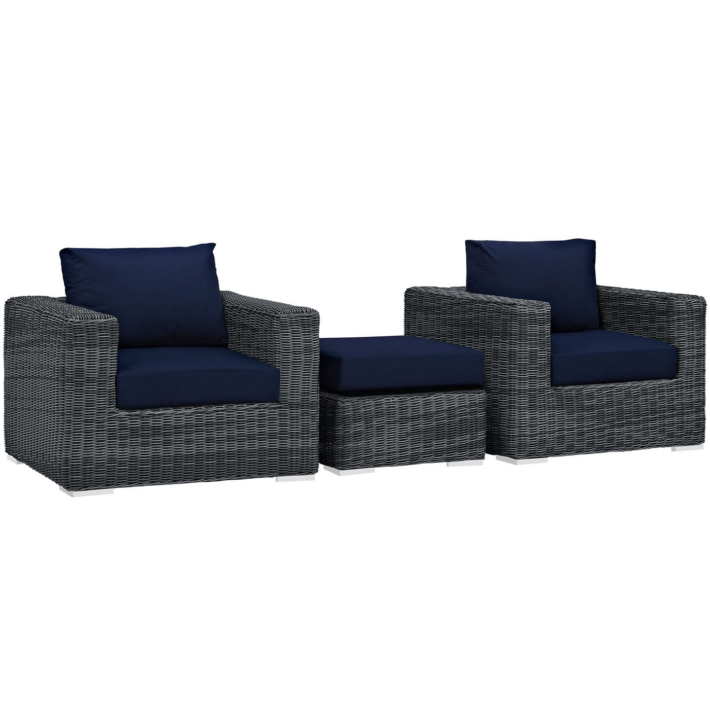 Rattan 3 Piece Sofa Details About Summon Rattan 3 Piece Patio Sunbrella Sectional Sofa Set W Cushions Navy Blue