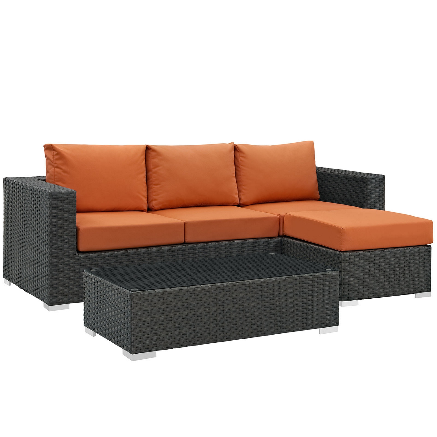 Rattan 3 Piece Sofa Details About Sojourn Rattan 3 Piece Outdoor Patio Sunbrella Sectional Sofa Set Cushion Canvas