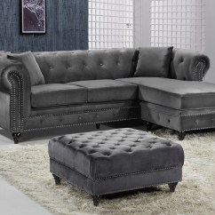 Gray Velvet Sofa With Nailheads Queen Size Trundle Bed Sophia Button Tufted Grey Nailhead Ottoman